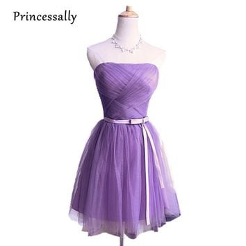 Violet Bridesmaid Dress Lavender Knee Length Strapless Pleat Short Party Dresses Party Bride Prom Formal Dress Cheap Under $50