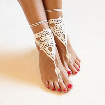 DCCKWQA Beach wedding ivory crochet wedding barefoot Sandals,Nude shoes, Foot jewelry,Victorian Lace Bridal anklet,beach accessories