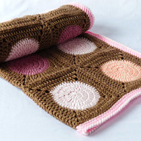 Pretty baby blanket - crochet, afghan - warm, circles and cosy - brown, pastel, pink.