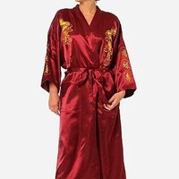 Women's Traditional Silk Satin Robe Embroidery Dragon