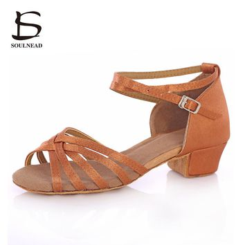 Cheap Latin Women's Dancing Shoes Salsa Dance Women Shoes Heels Low Ladies Ballroom Latin Tango Dance Shoes Girls/Kids Children