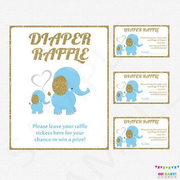 Blue and Gold Baby Shower Boy, Baby Elephant Diaper Raffle Tickets AND Sign, Diaper Raffle, Diaper Raffle Cards, Printable Download, ELLBG2