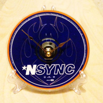 CD Clock, Desk Clock, Wall Clock, Recycled Music Compact Disc, Nsync, Upcycle, Battery, Wall Hanger & Stand ALL INCLUDED