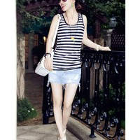Causal Black White Striped Pattern Back See Though Slim-Fit Tank Top