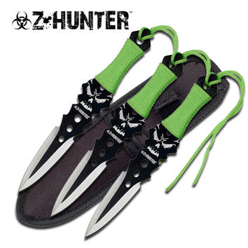 Z-Hunter 3 Piece 7.5 Inch Throwing Knife Set - Green Cord Wrapped Handle