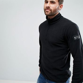 Nicce London Half Zip Track Top In Black Fleece at asos.com