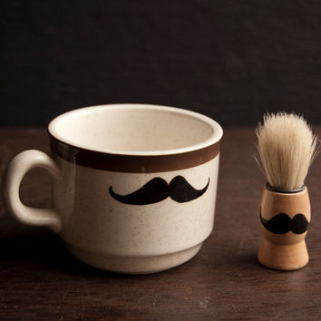 $38.00 Shaving Set Mustache Shaving Mug & Shaving Brush by WoodsandTaylor