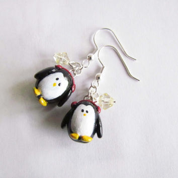 Penguin Earrings, Penguin Polymer Clay, Christmas Earrings, Penguin Sculpey, Dangle Earrings, Penguin Jewelry, Christmas Jewelry