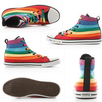 High Canvas Rainbow Female Shoes Casual Flat Woman Shoes