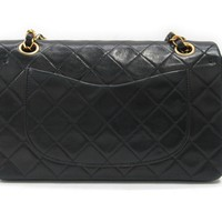 CHANEL Double Flap Chain Shoulder Bag Quilted Leather Black