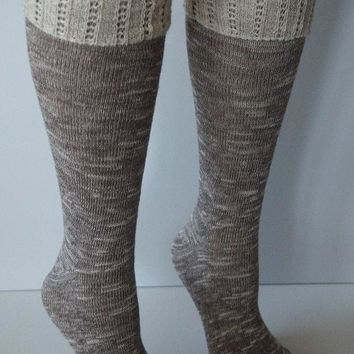 Brown Combo Knee High Marbled Knit Boot Sock with Pointelle Cuff