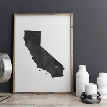 California Watercolor Printable Art California Poster State Art Print Watercolor Map Poster State Poster California Gift Instant Download
