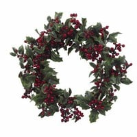 24 Inch Holly Berry Holiday Wreath