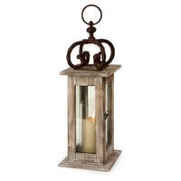 IMAX Worldwide 84005 Natural Wood Portable Outdoor Lantern  - Decor Universe