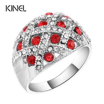 Kinel Vintage Jewelry Engagement Rings For Women Silver Plated Retro Look Big Oval Red Austrian Crystal Ring