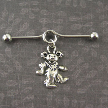 "Grateful Dead Dancing Bear Surgical Steel Industrial Bar Barbell Scaffold Piercing 14G gauge, 1.5"" ~ Hippie Boho Metal Earring Jewelry"