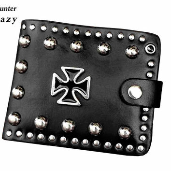 Gothic Cross Heavy Metal Studded Mens Short Bifold Leather wallet Card Holder