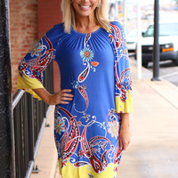 Glorious Day Border Print Dress With Bell Sleeves ~ Royal Blue ~ Sizes 4-10