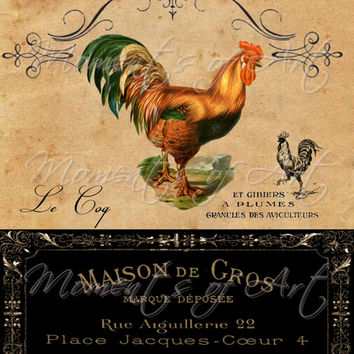 SPECIAL OFFER Half Price Sale 8x10 French Country Rooster, Colorful Rooster with French label, Kitchen Art, Country kitchen Decor