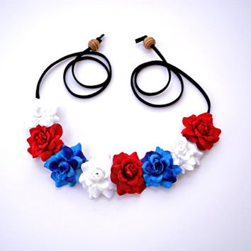 American Flower Halo USA Floral Crown Red White Blue Patriotic Flower Halo Floral Crown Hippie Headpiece July 4th American Headband