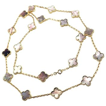 Van Cleef & Arpels 20 Grey Mother-of-Pearl Vintage Alhambra Yellow Gold Necklace