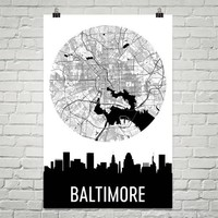 Baltimore Skyline Silhouette Art Prints