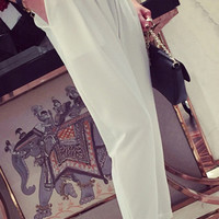 Solid Color Temperament Thin High Waist Pants