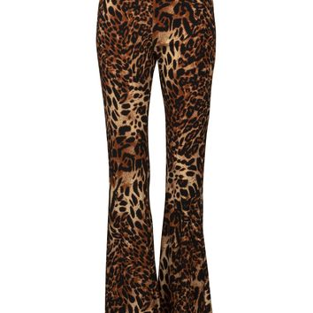 Running Free Leopard Animal Print Flared Bell Bottom Pants