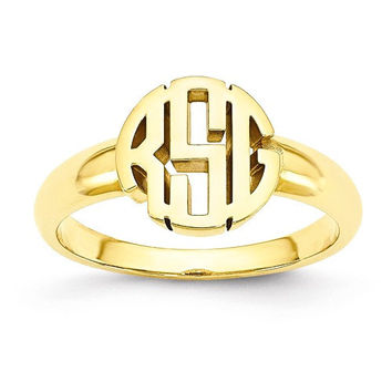 Round Monogram Signet Ring in Solid 10k Yellow Gold or GP Sterling Silver