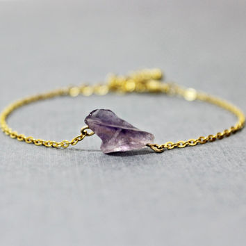 Raw Amethyst and Gold Bracelet - February Birthstone Bracelet - Amethyst Bracelet