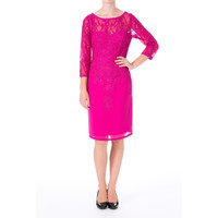 Sue Wong Womens Lace 3/4 Sleeves Cocktail Dress