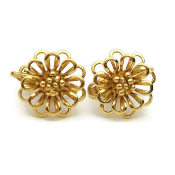 Vintage Jewelry Trifari Small Gold Tone Wire Flower Clip On Earrings - Openwork Signed Trifari Floral Clip Earrings
