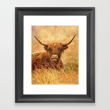 Happy Highlander Framed Art Print by Linsey Williams Wall Art, Clothing, And