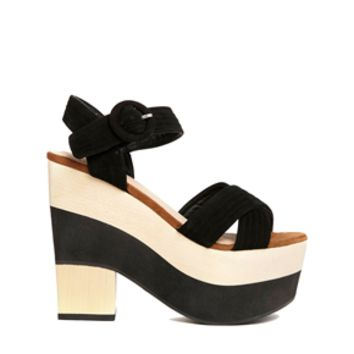 r Block Black & Beige Heeled Sandals -