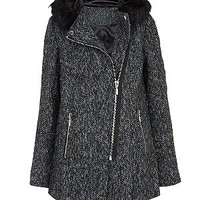 Black Faux Fur Trim Hooded Biker Coat