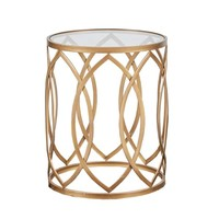 Madison Park Coen Gold/ Glass Metal Eyelet Accent Table | Overstock.com Shopping - The Best Deals on Coffee, Sofa & End Tables