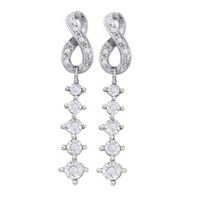 Diamond Fashion Earrings in 10k White Gold 0.2 ctw