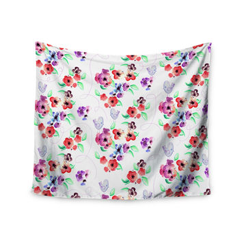 """Zara Martina Mansen """"Spring Flowers And Birds"""" White Red Wall Tapestry"""