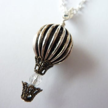 Up Up and Away Hot Air Balloon Necklace - Cute Unique Hot Air Balloon Pendant by Weirdly Cute jewelry