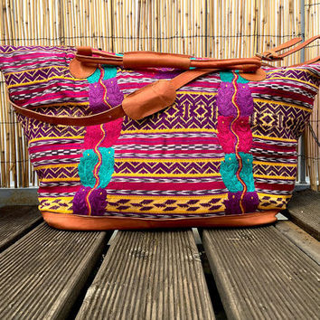 Mexican Weekend Bag - large embroidered Mexican folk art traditional woven overnight travel Mayan blouse handmade