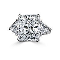 5 CT. Radiant Center Classic Style Settings Sterling Silver Ring W/two 1 CT. Triangular Sides Simulated Diamond - Diamond Veneer 635R71337-5CT
