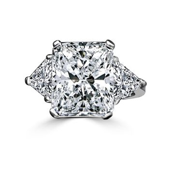 15 CT. Radiant Classic Style Ring W/Two 1.50 Ct Triangular Sides Simulated Diamond - Diamond Veneer Sterling Silver Platinum 635R72098