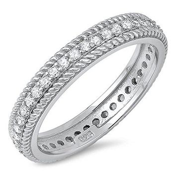 Rope Chain Design Clear CZ Wedding Ring New 925 Sterling Silver Band Sizes 510