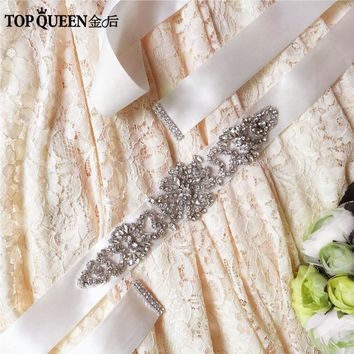 TOPQUEEN S168 Stock Crystal Rhinestone Fashion Wedding Evening Prom Dress Accessories Bridal Bride Sashes Belts For the Party