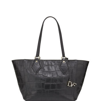 Voyage Croc-Embossed East-West Tote Bag, Black - Diane von Furstenberg