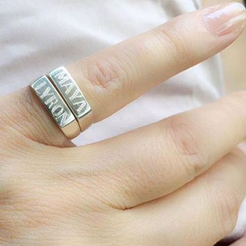Engraved ring, Personalized Ring,Initial ring, letter Ring ,Pinky ring, silver