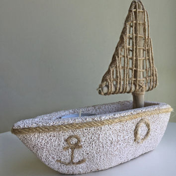 Natural Candle Holder/ Coastal Decor/ Nautical Decor/ Beach Decor/ Pumice Stone Decor/ Sailboat Candle Holder/ Ocean Decor/ Candle Holder