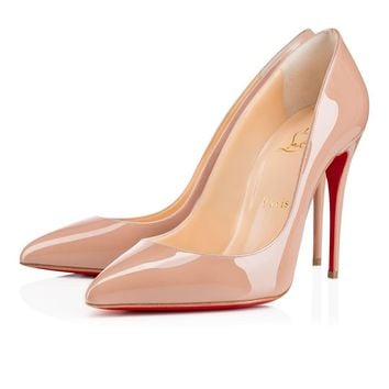 Christian Louboutin Cl Pigalle Follies Nude Patent Leather 100mm Stiletto Heel