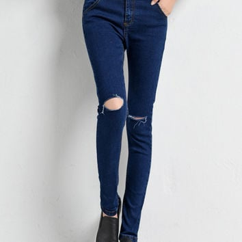 Blue Ripped Knee Denim Jeans