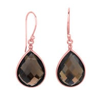Pear Shaped Faceted Smokey Quartz Drop Earrings Set In Rose Gold Plated Sterling Silver